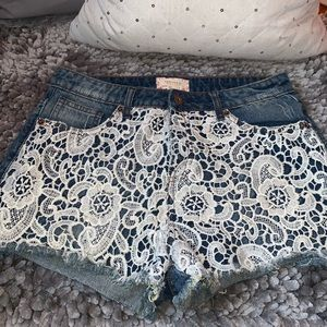 Lace Detailed Jean shorts